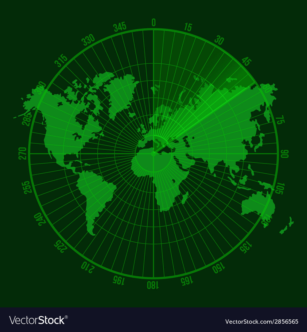 Green radar screen with map vector | Price: 1 Credit (USD $1)