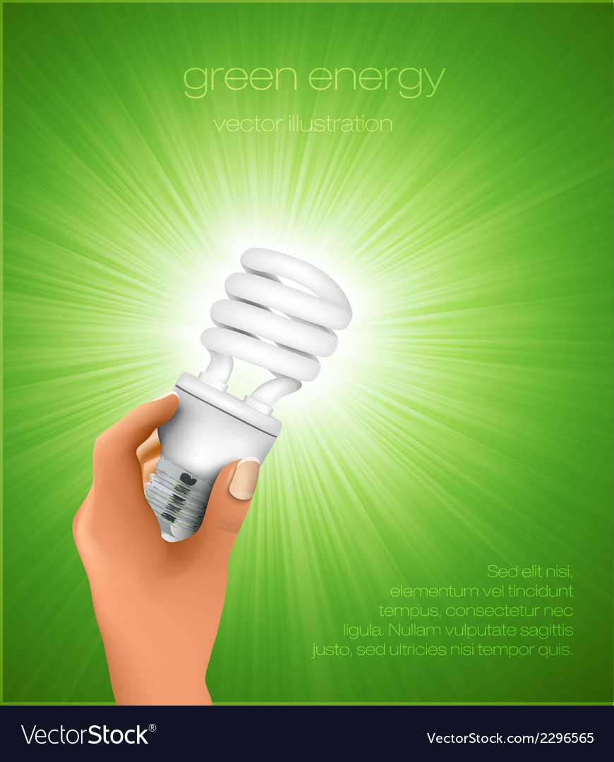 Hand holding energy saving light bulb vector | Price: 1 Credit (USD $1)