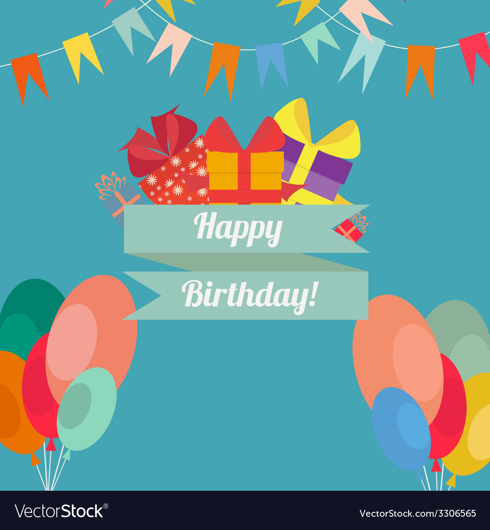 Happy birthday in style flat vector | Price: 1 Credit (USD $1)