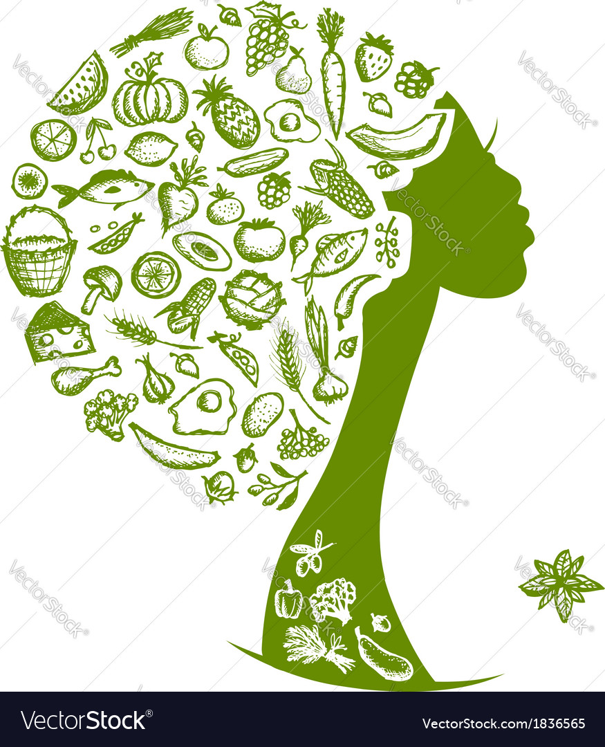 Healthy food concept female head with vegetables vector | Price: 1 Credit (USD $1)