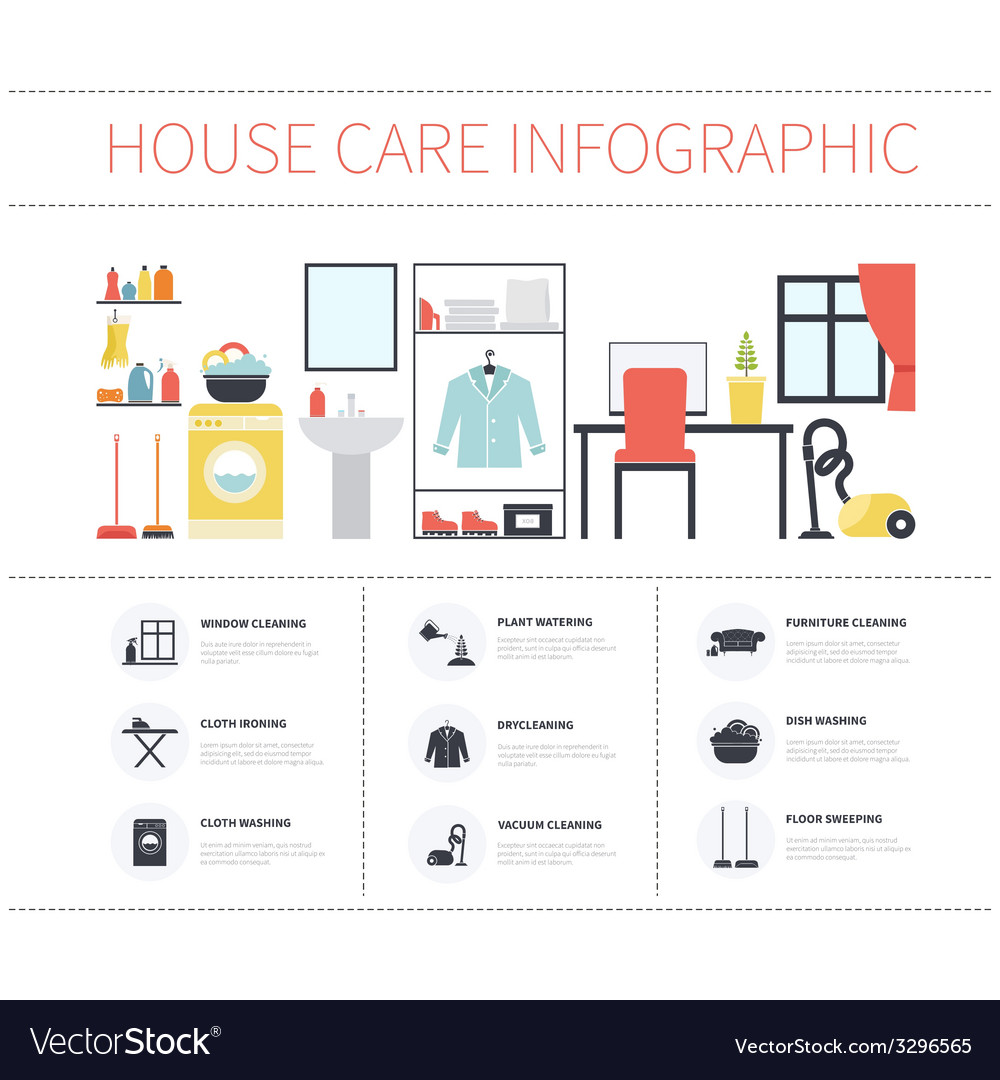 House cleaning infographic vector | Price: 1 Credit (USD $1)
