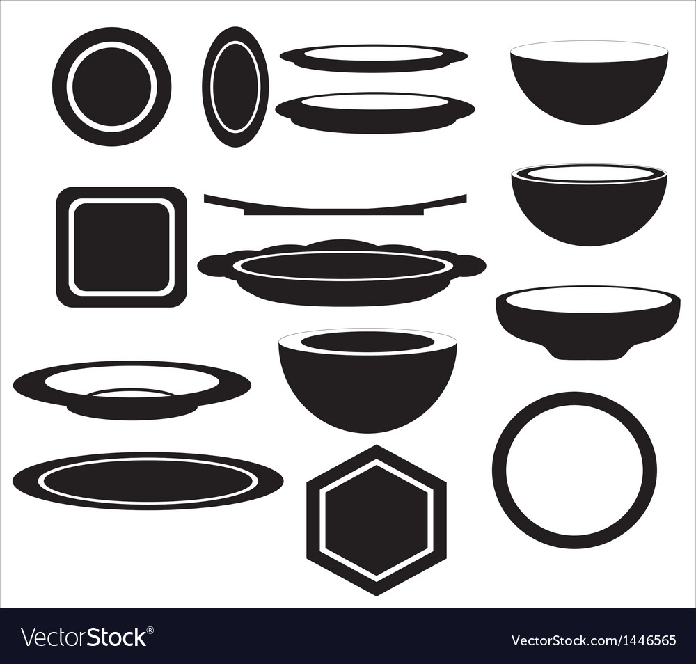 Icon of plates of different shapes vector | Price: 1 Credit (USD $1)