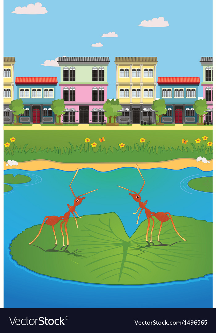 Waterfront village vector | Price: 1 Credit (USD $1)