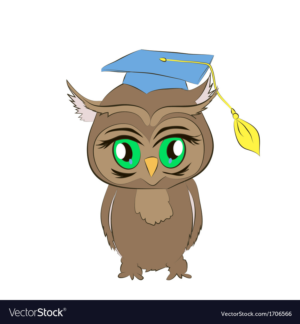 Academic owl cartoon vector | Price: 1 Credit (USD $1)