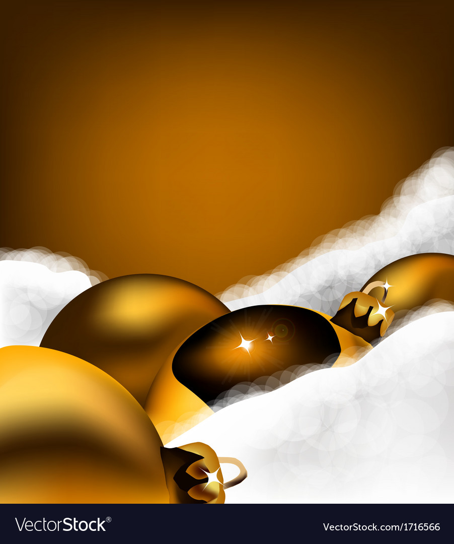 Christmas gold toy on cotton wool vector | Price: 1 Credit (USD $1)