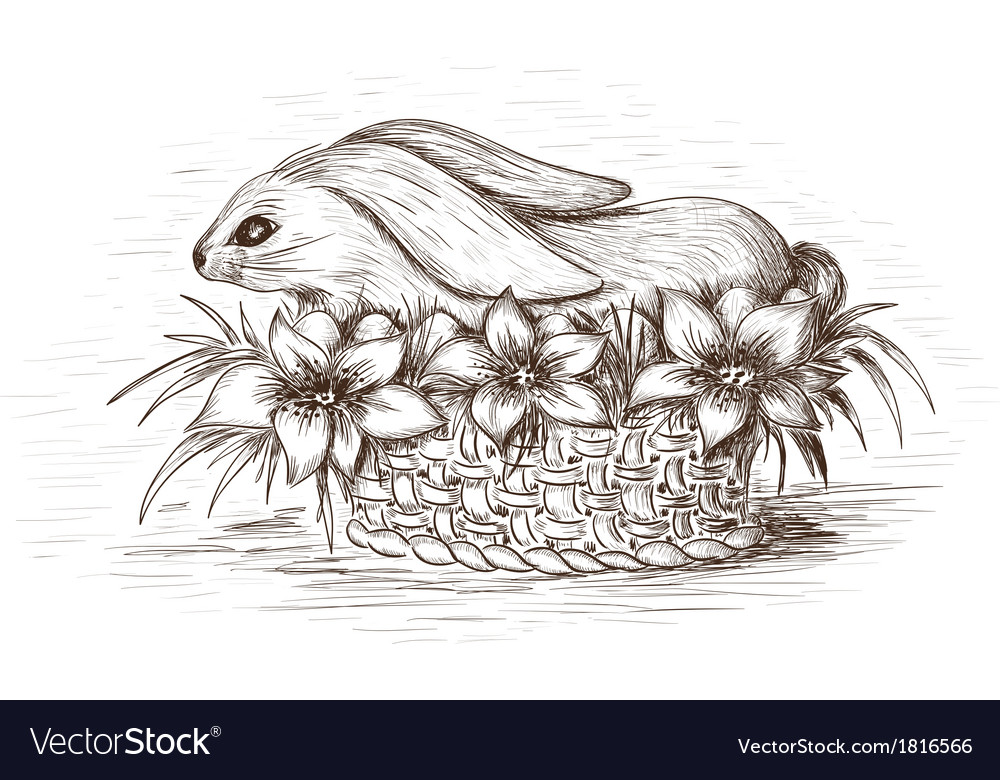 Easter rabbit in the basket with flowers and eggs vector | Price: 1 Credit (USD $1)