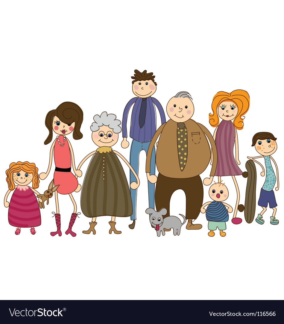 Family portrait vector | Price: 1 Credit (USD $1)