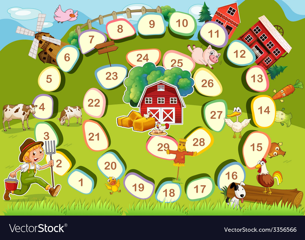 Farm board game vector | Price: 3 Credit (USD $3)