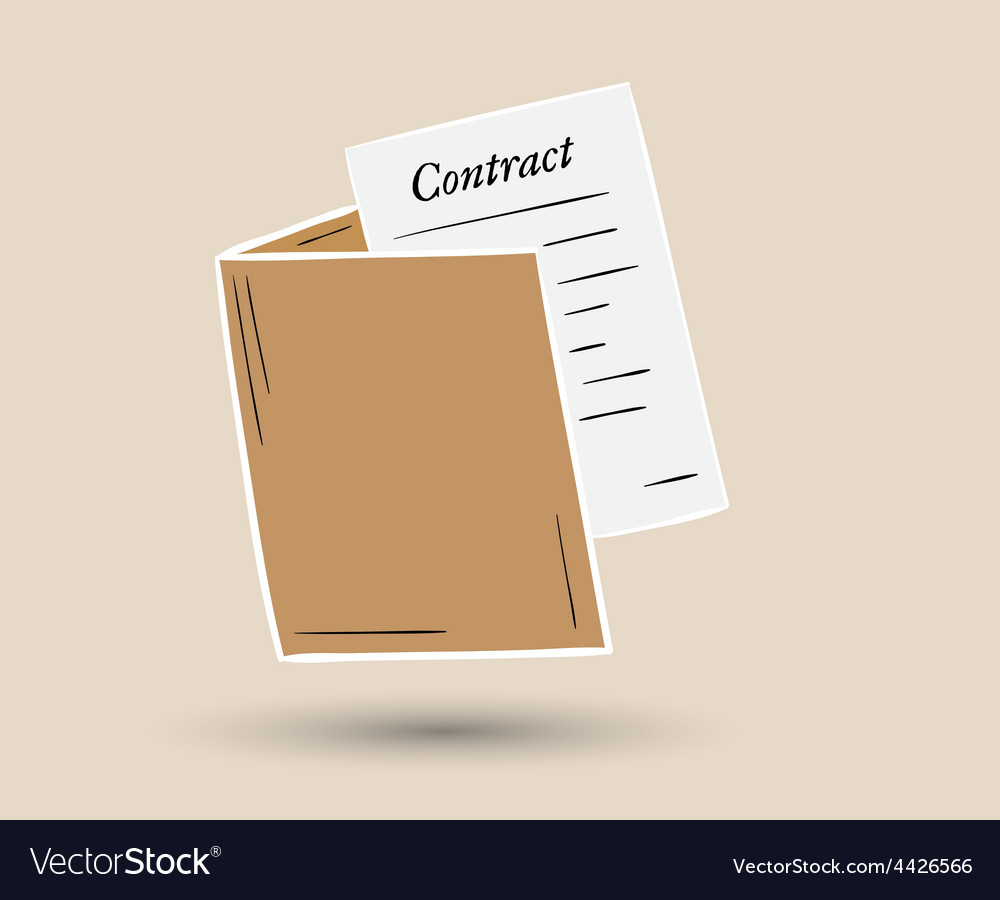 Folder with contract paper vector | Price: 1 Credit (USD $1)