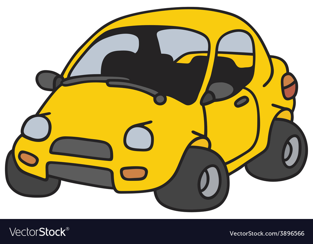 Funny yellow car vector | Price: 1 Credit (USD $1)