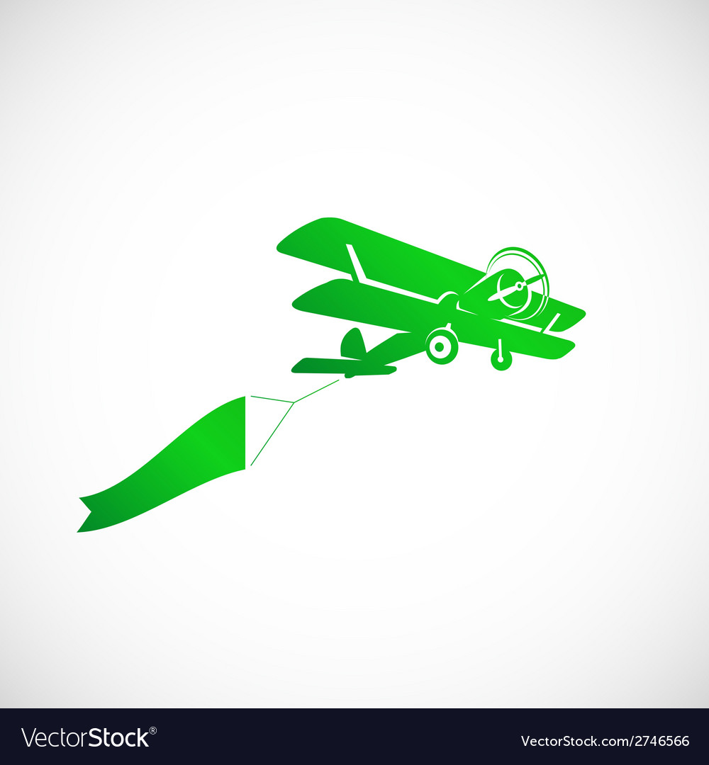 Vintage plane with banner symbol icon vector | Price: 1 Credit (USD $1)