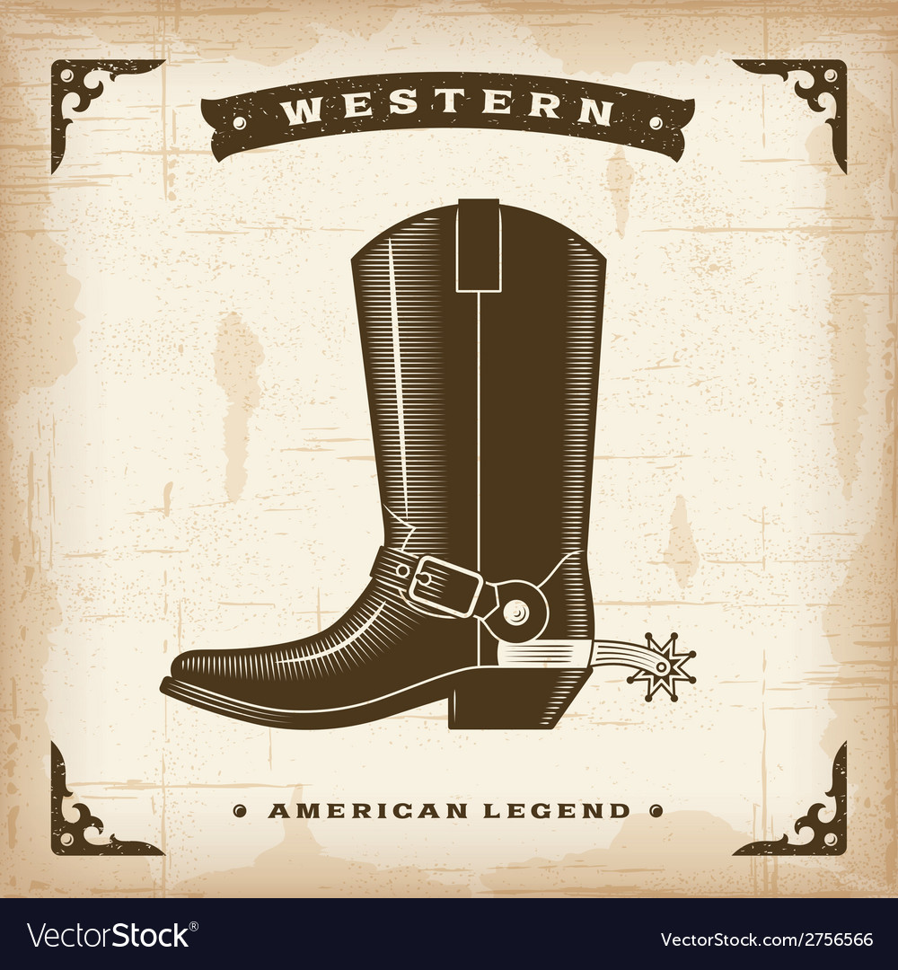 Vintage western cowboy boot vector | Price: 1 Credit (USD $1)