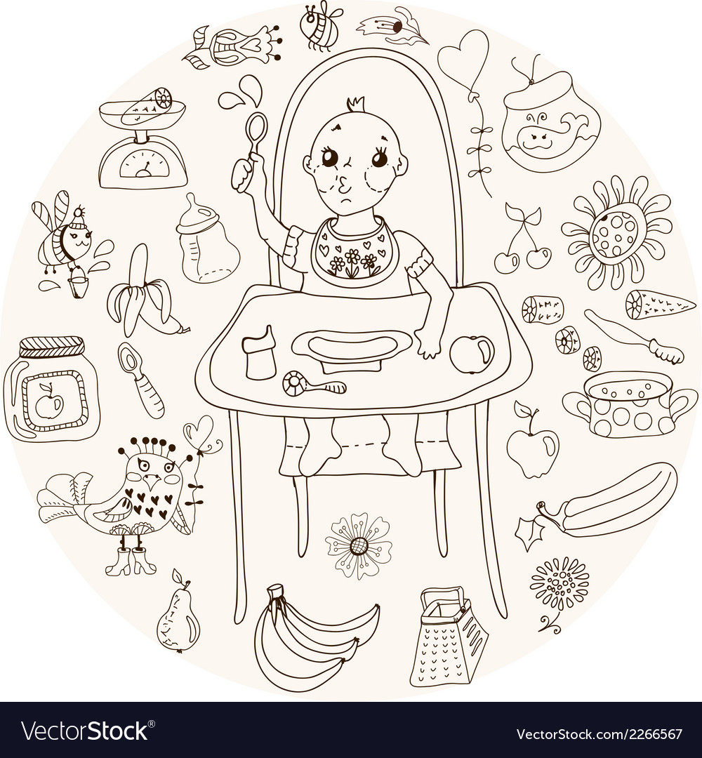 Baby feeding doodle vector | Price: 1 Credit (USD $1)