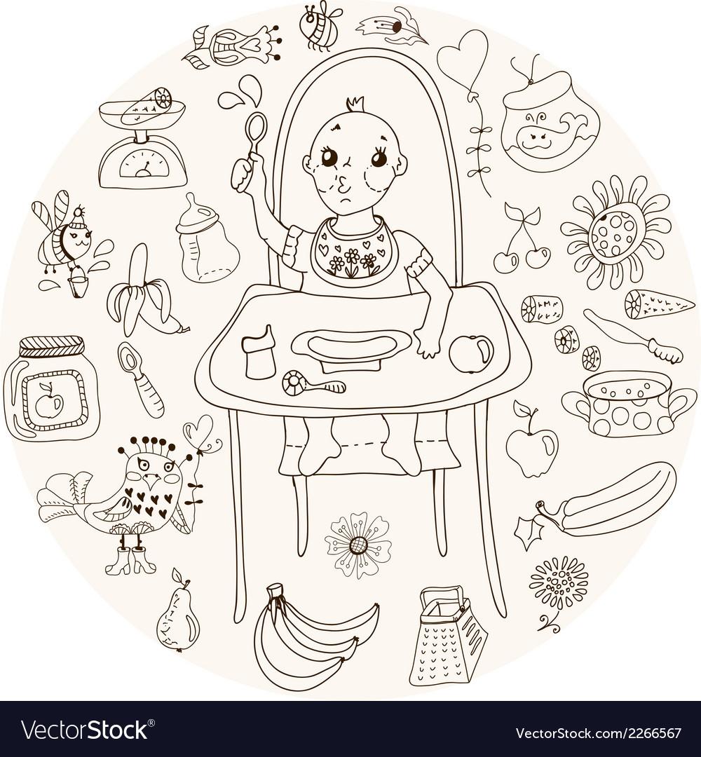 Baby feeding doodle vector | Price: 1 Credit (USD $1)