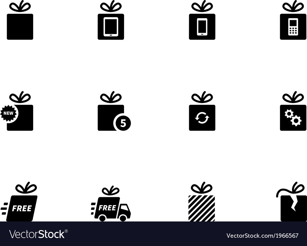 Gift icons set on white background vector | Price: 1 Credit (USD $1)