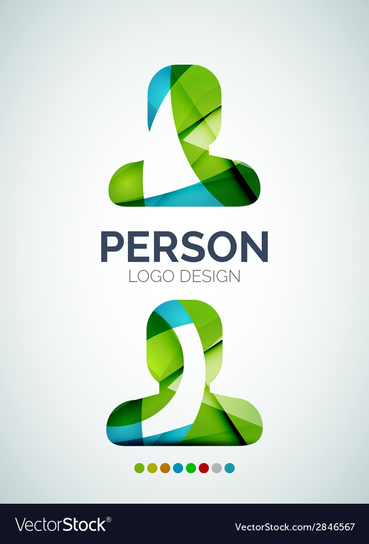 Person logo design made of color pieces vector | Price: 1 Credit (USD $1)