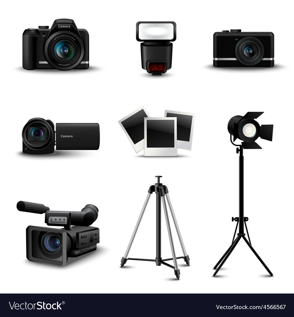 Realistic camera icons vector | Price: 1 Credit (USD $1)