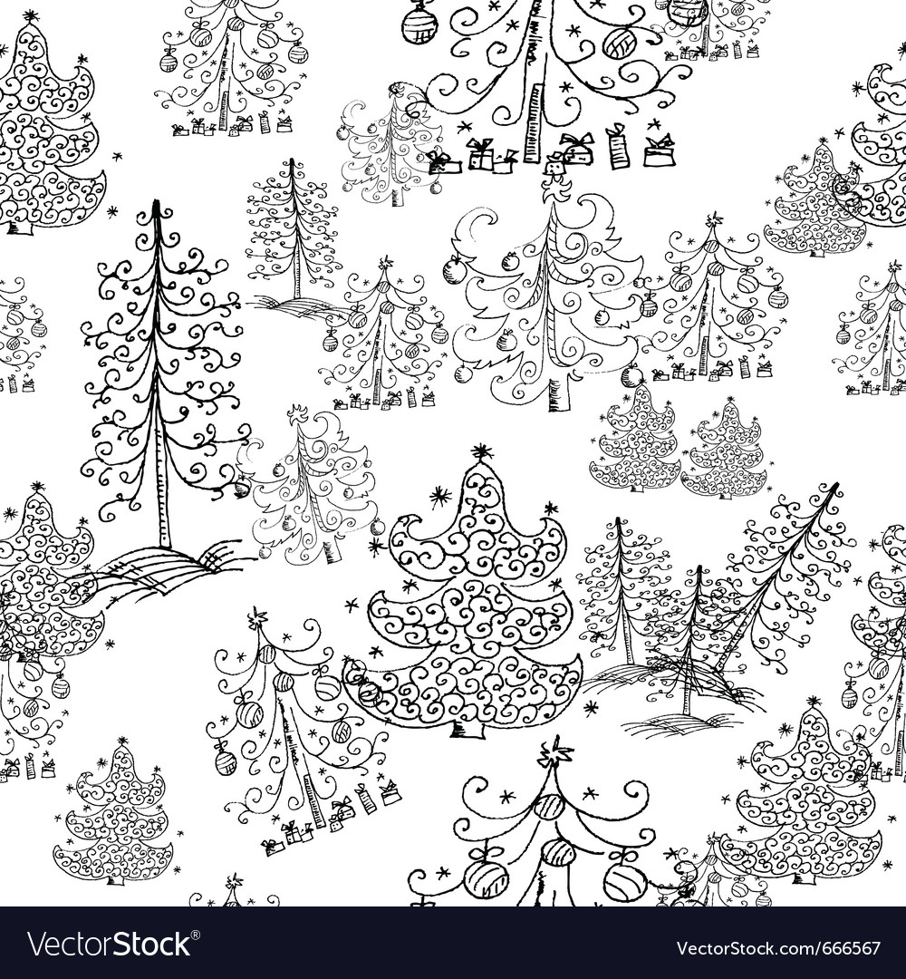 Seamless background from christmas trees vector | Price: 1 Credit (USD $1)