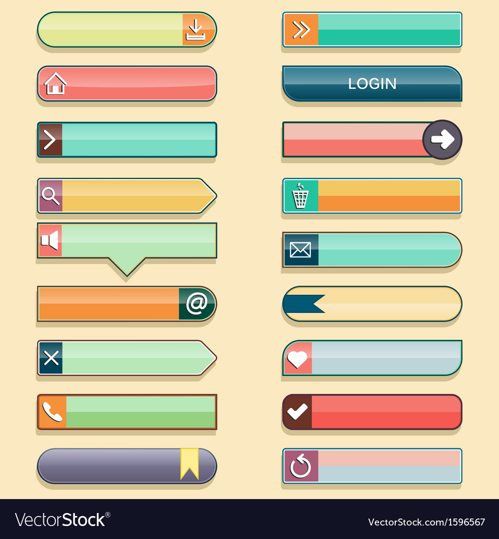 Set of web buttons with space for text in retro vector | Price: 1 Credit (USD $1)