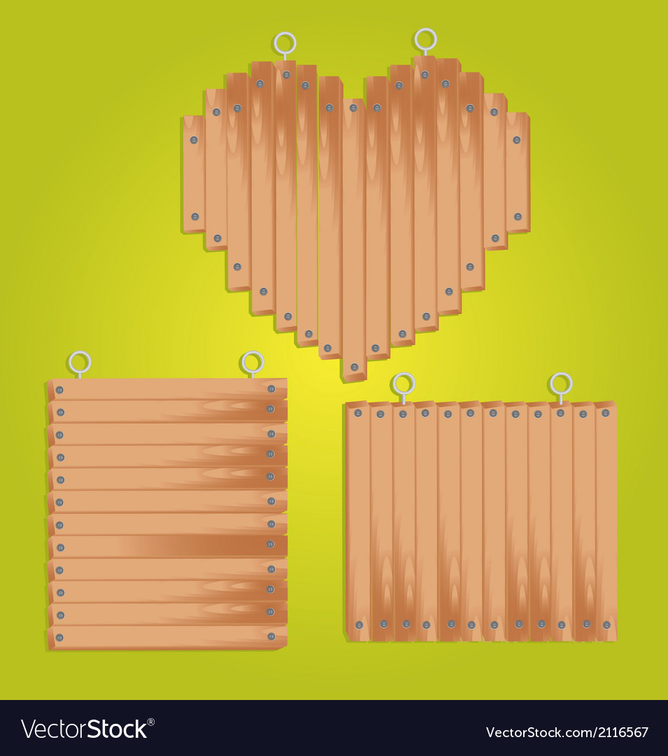 Set of wood panels with grommets for hanging inclu vector | Price: 1 Credit (USD $1)