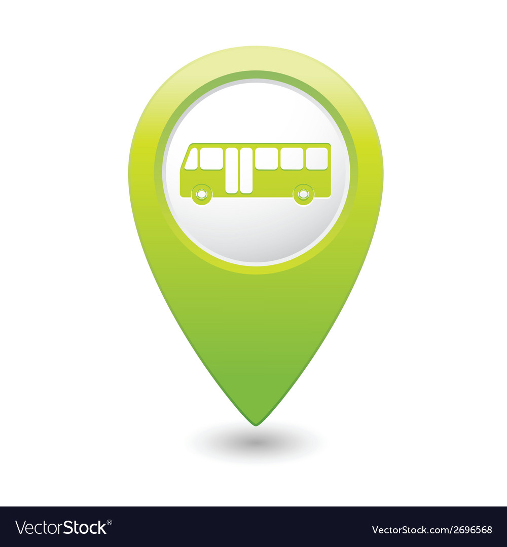 Bus icon green map pointer vector | Price: 1 Credit (USD $1)