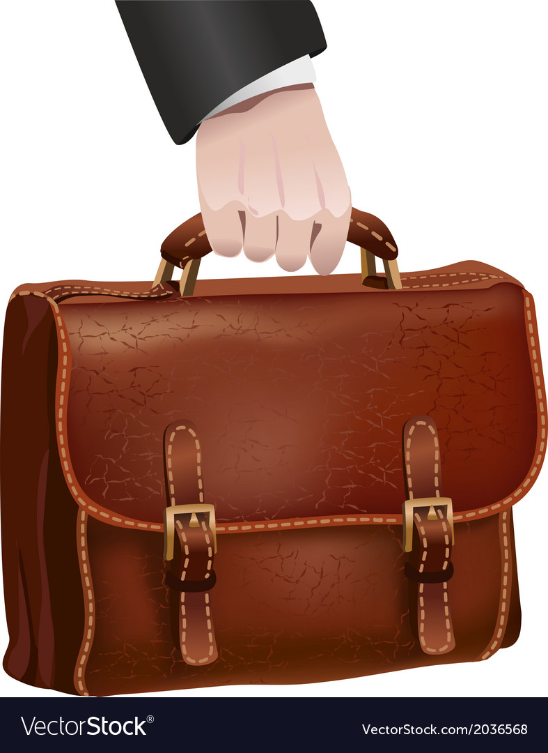 Businessman hand holds leather briefcase vector | Price: 1 Credit (USD $1)