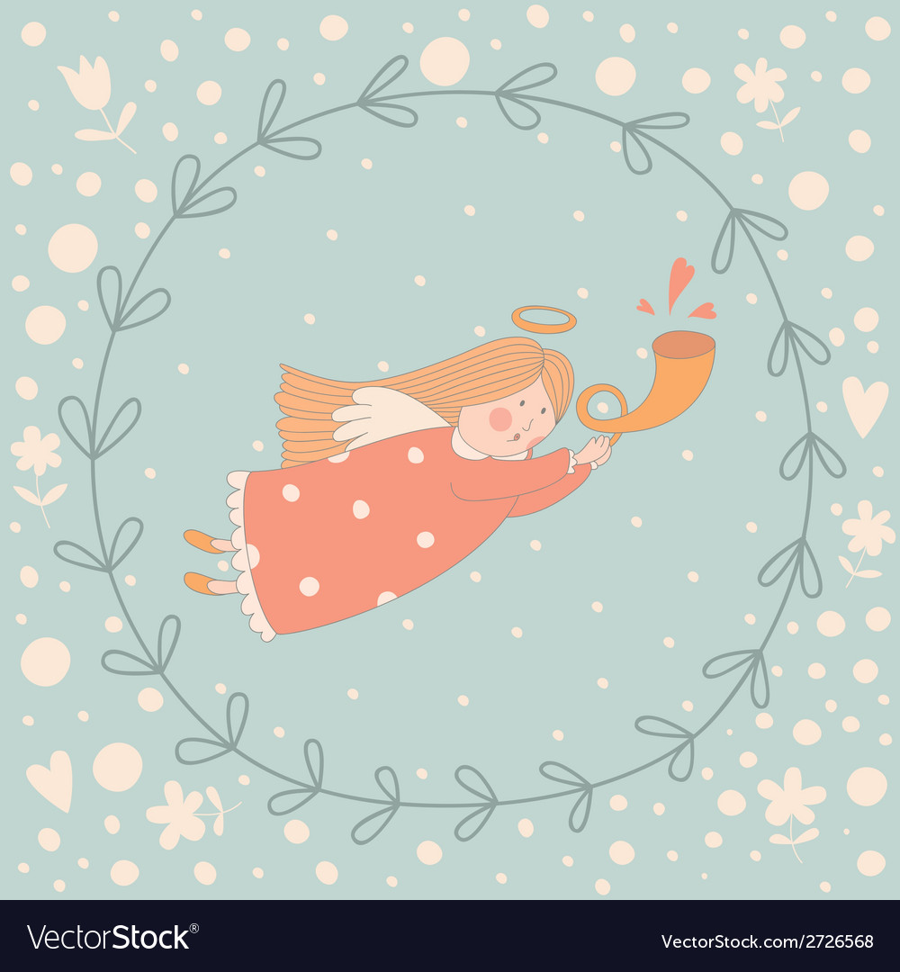 Cartoon of a very cute angel in a wreath vector   Price: 1 Credit (USD $1)