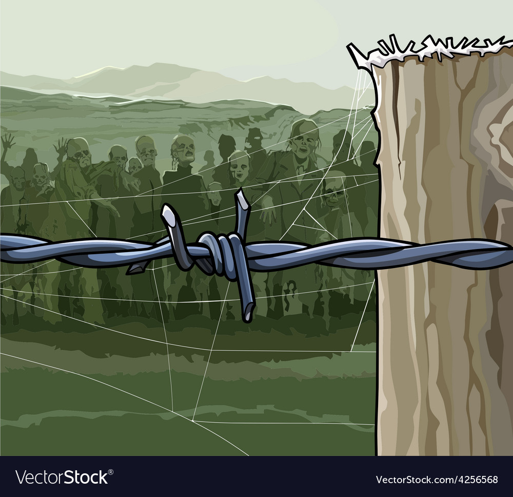 Cartoon zombie crowd behind barbed wire vector | Price: 3 Credit (USD $3)