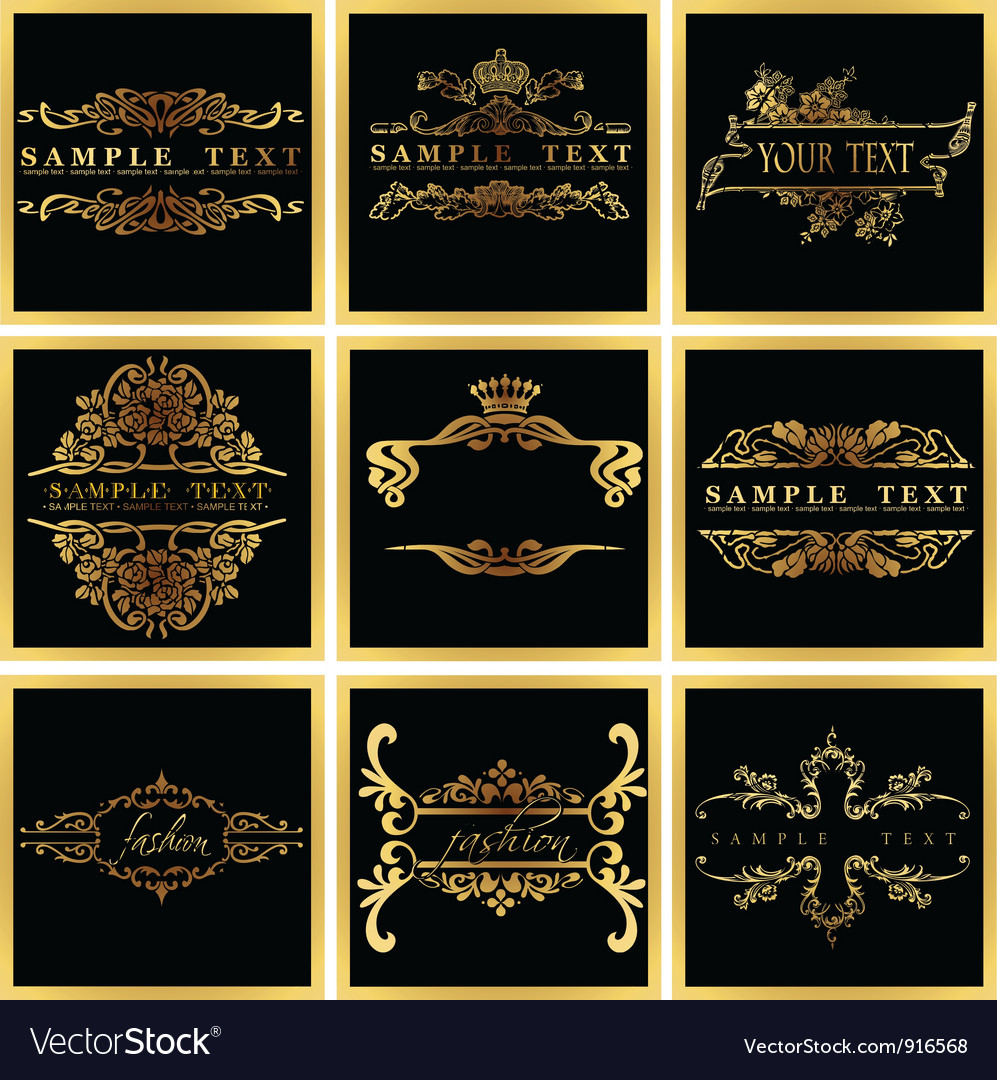 Decorative ornate golden quad frames vector | Price: 1 Credit (USD $1)