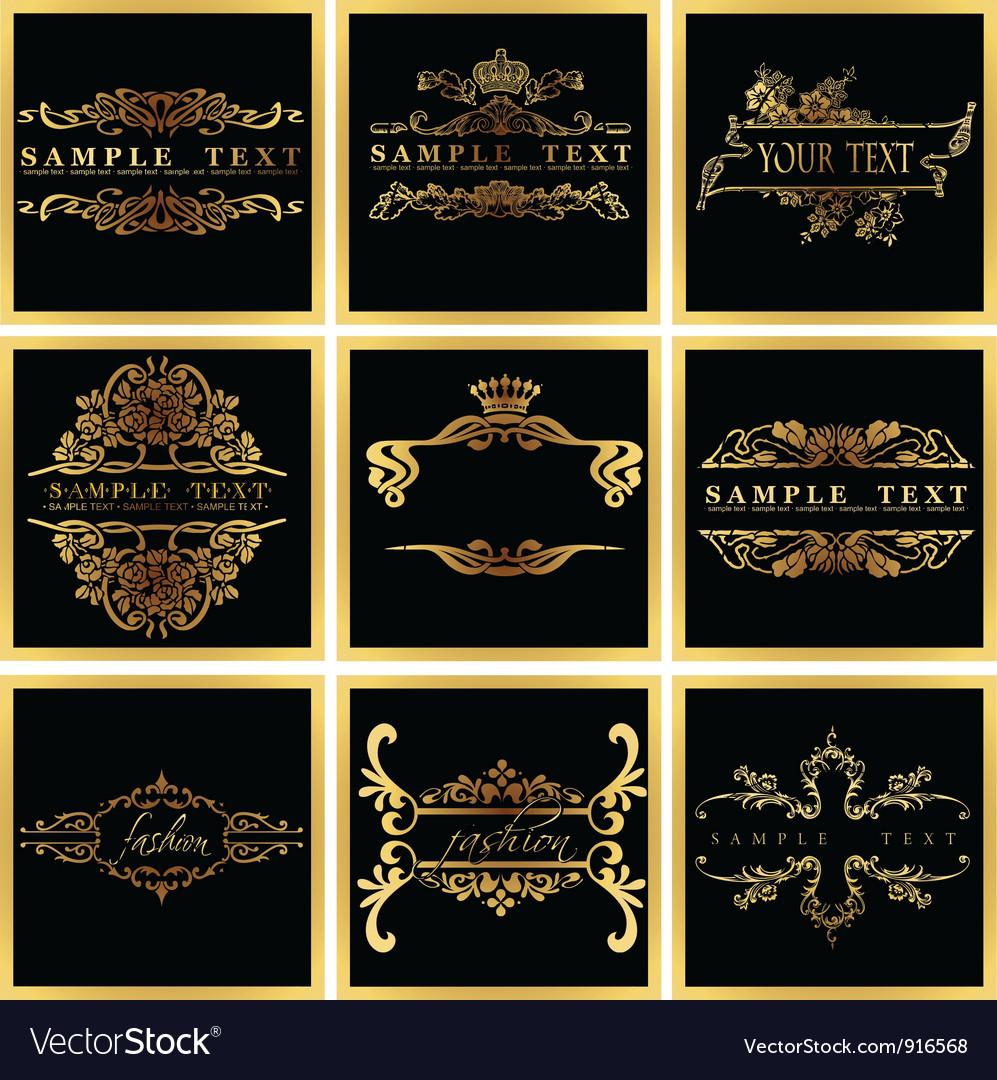 Decorative ornate golden quad frames vector | Price: 1 Credit (USD $1)