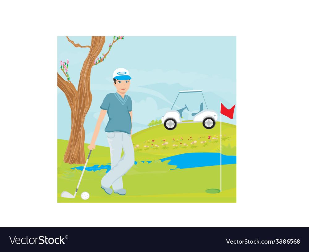 Man playing golf vector | Price: 1 Credit (USD $1)