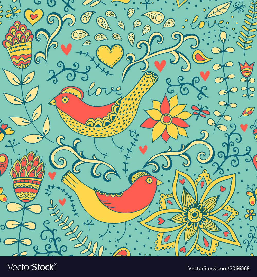 Seamless texture with flowers and birds endless vector | Price: 1 Credit (USD $1)