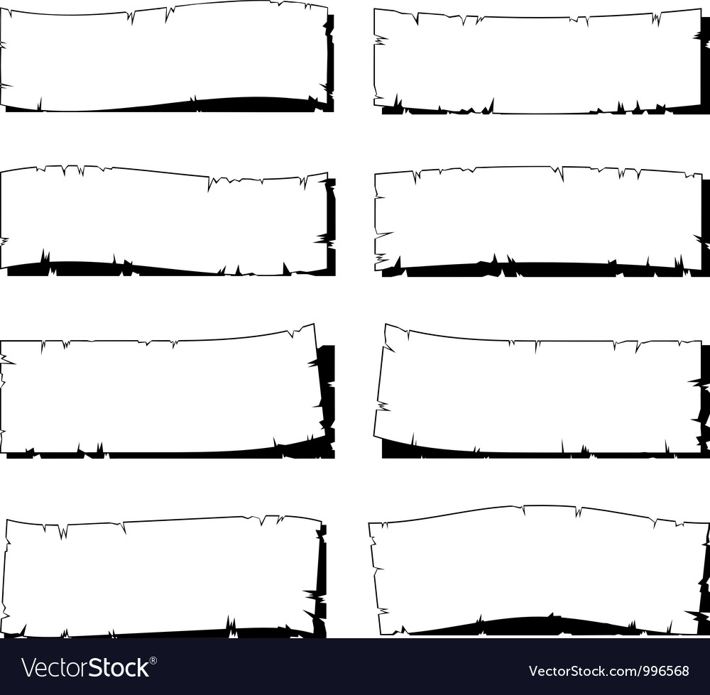 Set of white ripped old paper frame with shadow vector | Price: 1 Credit (USD $1)