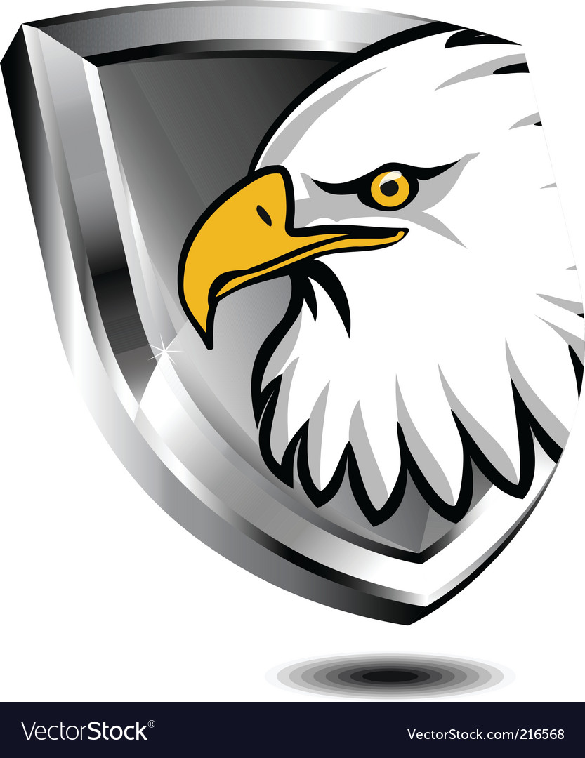 Silver shield with eagle vector | Price: 1 Credit (USD $1)