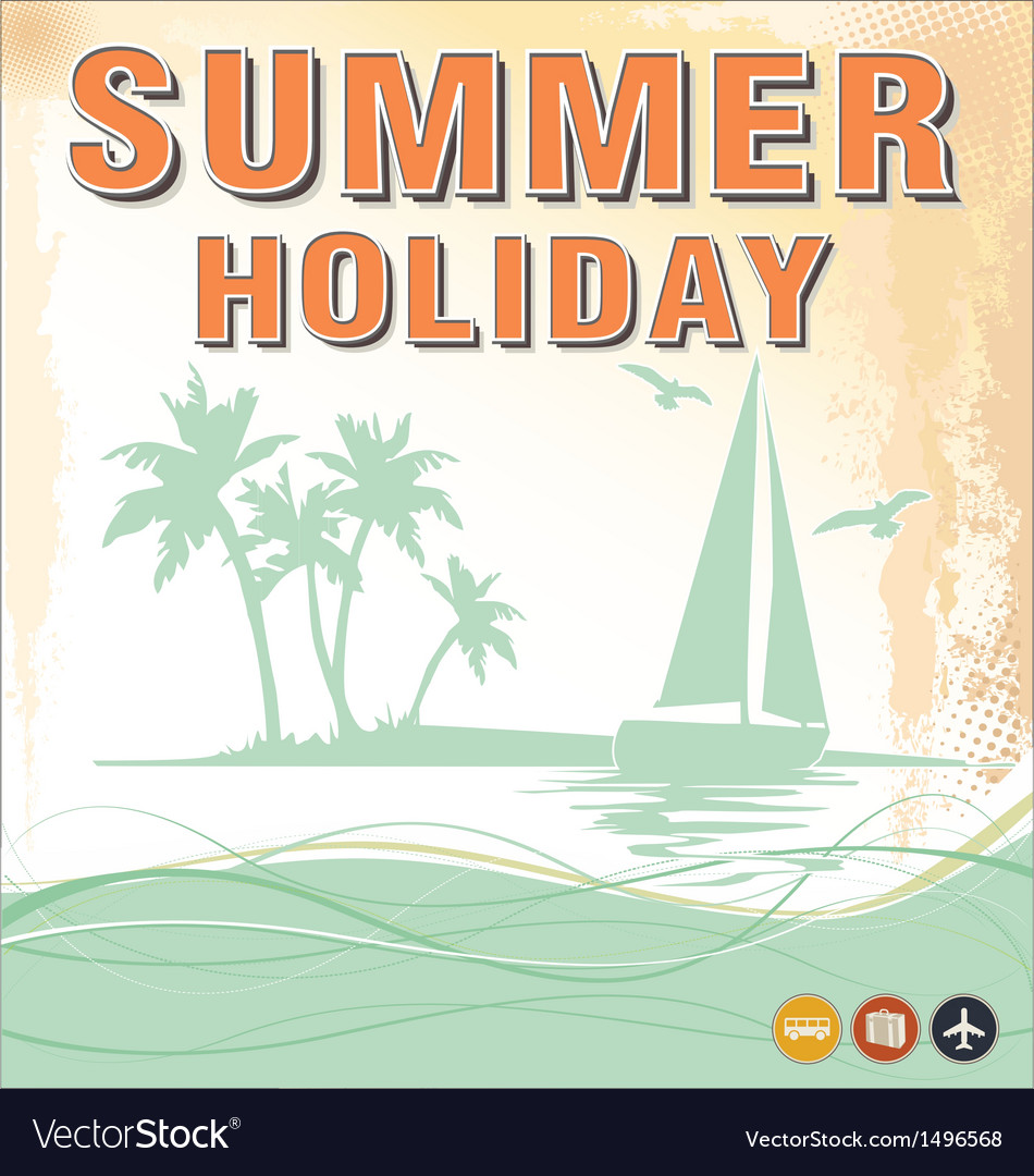 Summer background in retro style vector | Price: 1 Credit (USD $1)