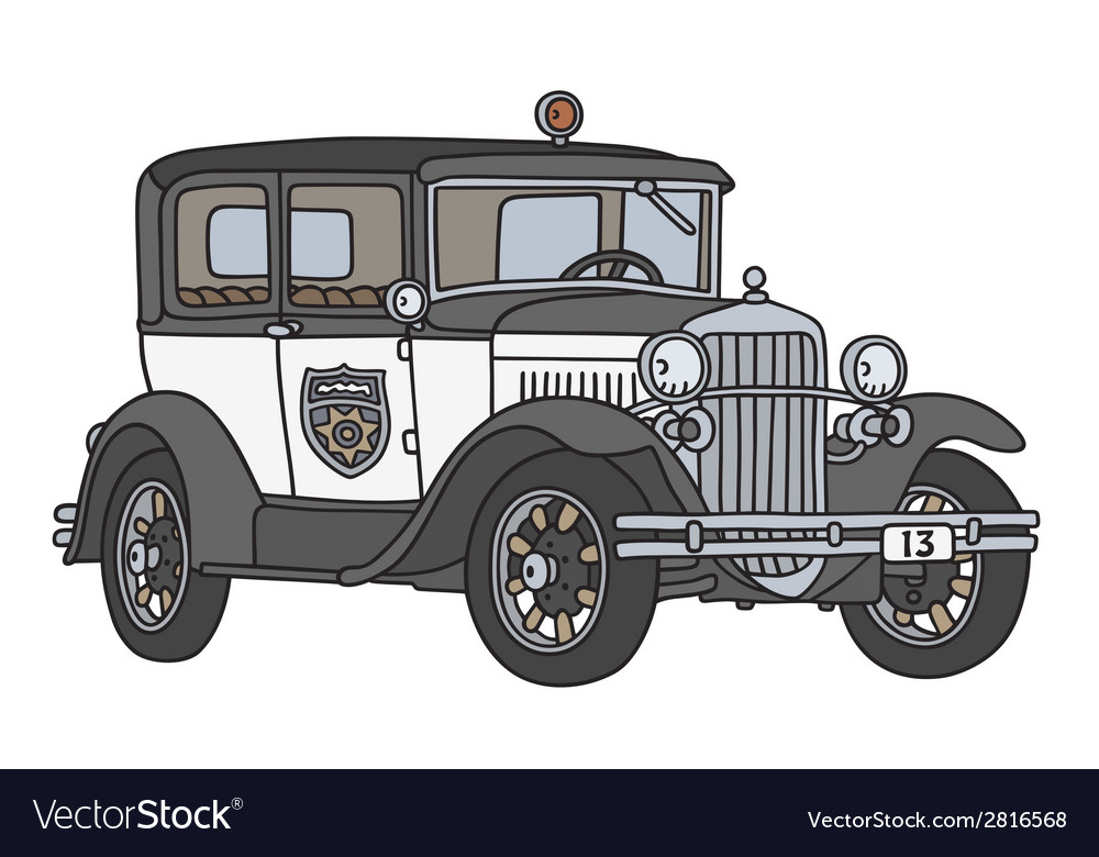 Vintage police car vector | Price: 1 Credit (USD $1)