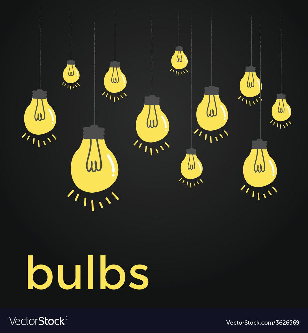 Bare bulbs hanging on strings vector | Price: 1 Credit (USD $1)