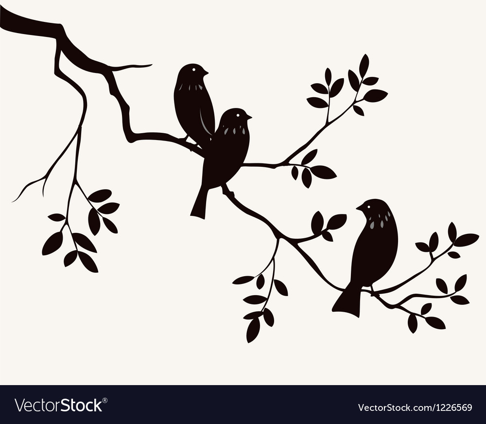 Birds on twig vector | Price: 1 Credit (USD $1)