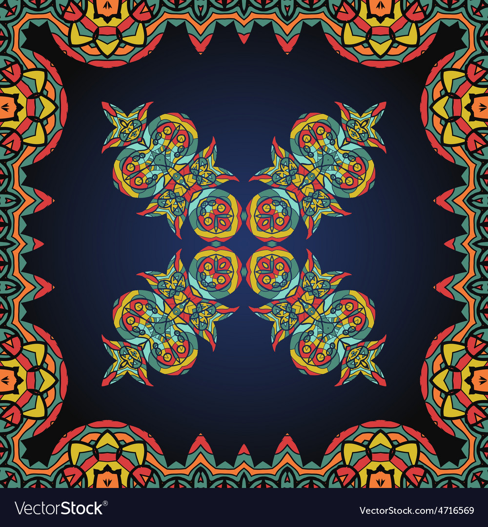 Bright coloured ornate frame with paisley pattern vector   Price: 1 Credit (USD $1)