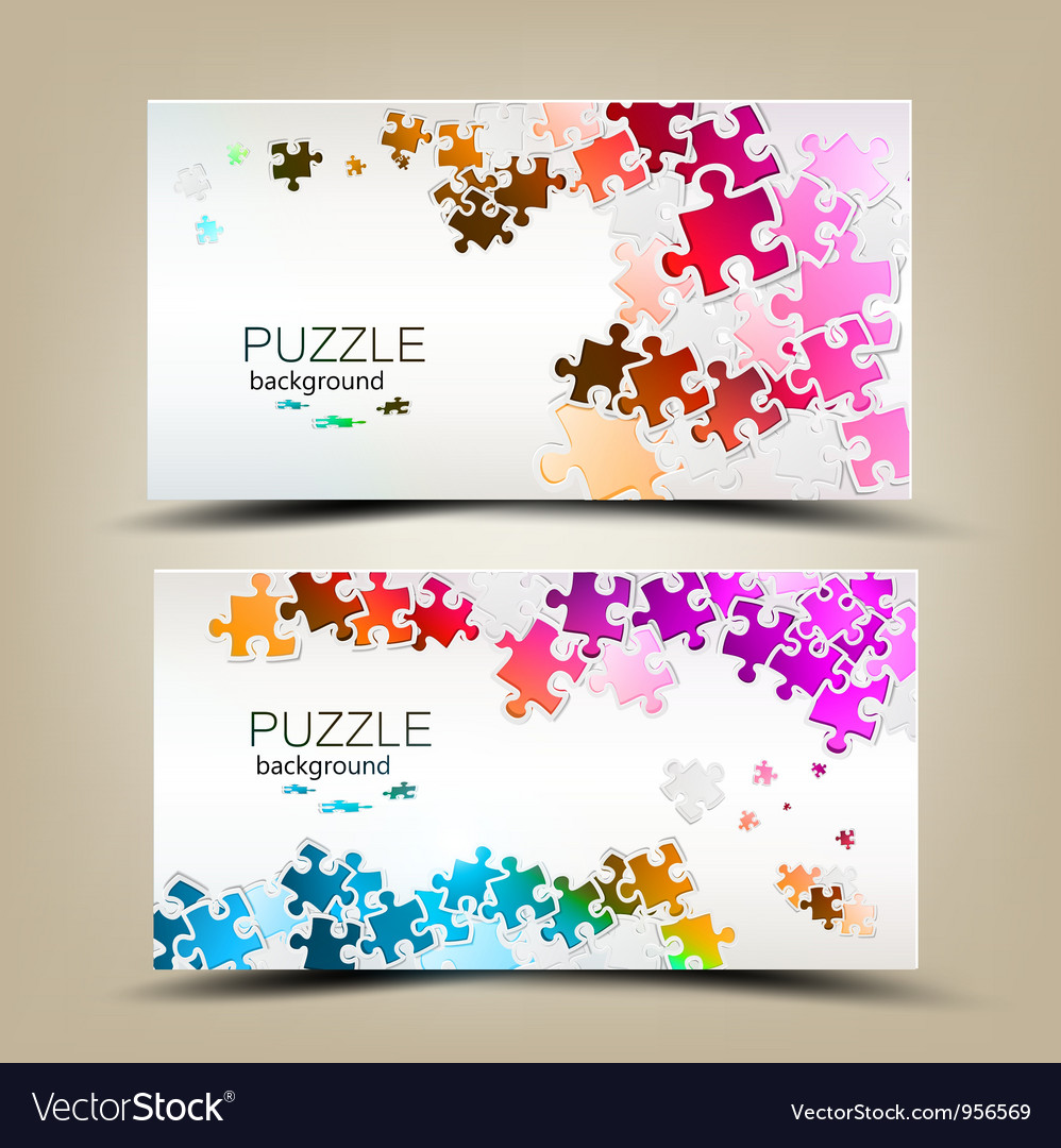 Business cards with mosaic made from puzzle pieces vector | Price: 1 Credit (USD $1)