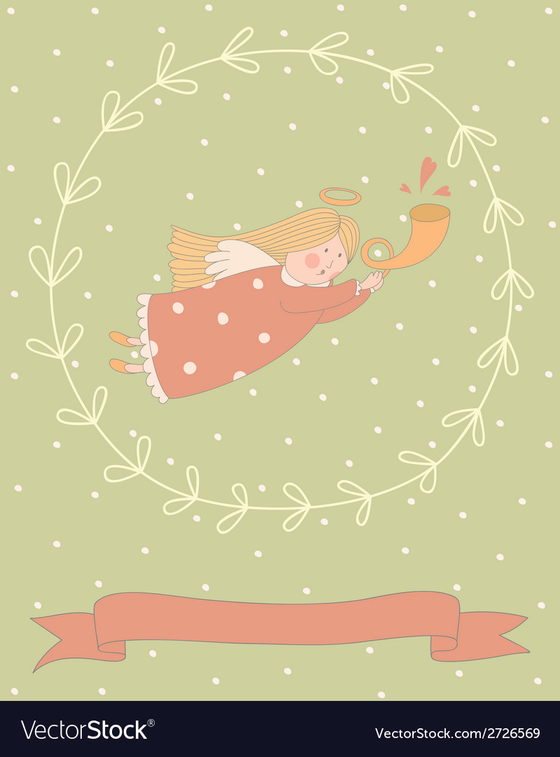 Cartoon of a very cute angel in a wreath vector | Price: 1 Credit (USD $1)