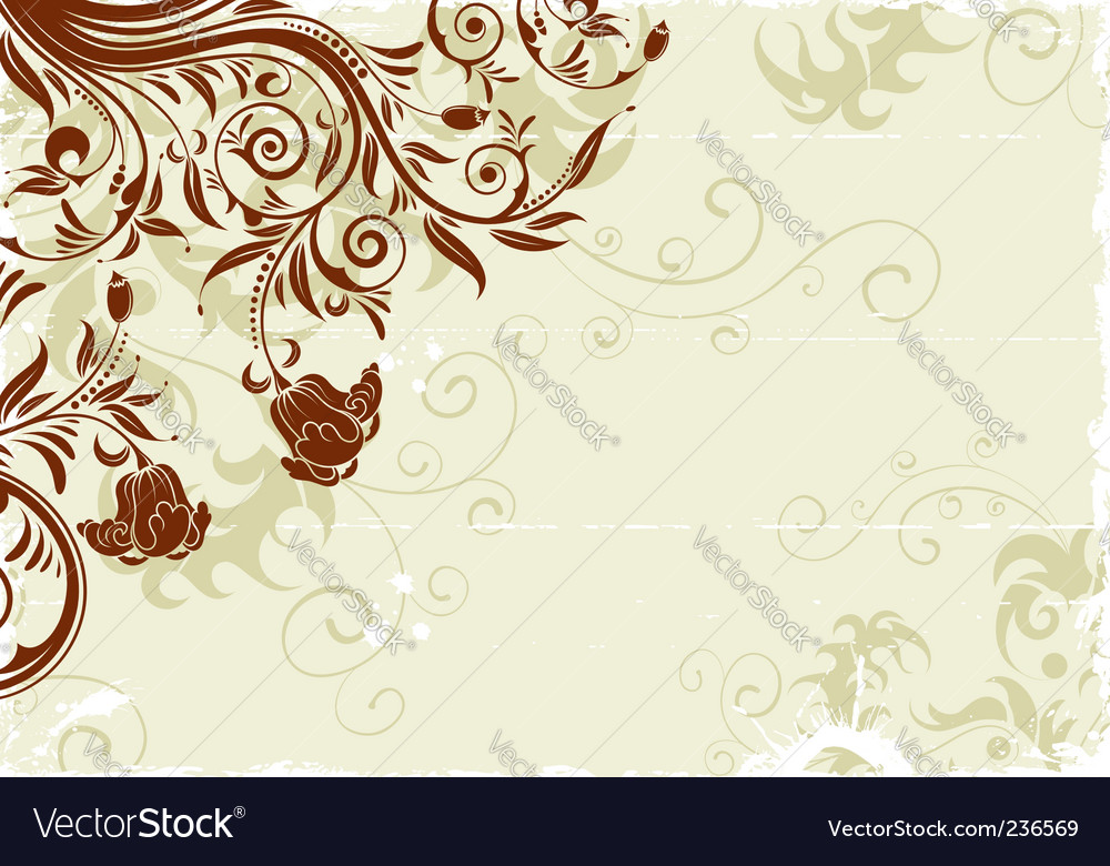 Grunge floral frame vector   Price: 1 Credit (USD $1)