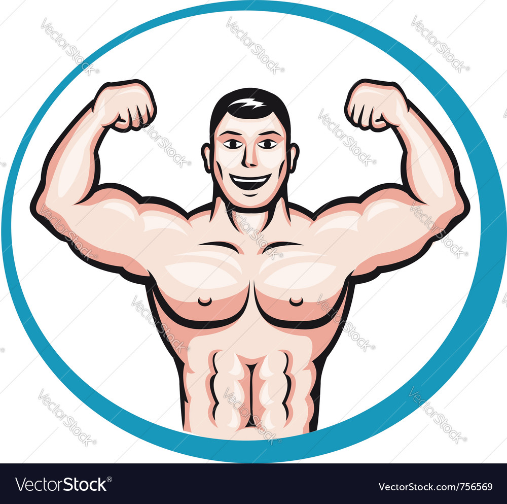 Happy smiling bodybuilder vector | Price: 1 Credit (USD $1)