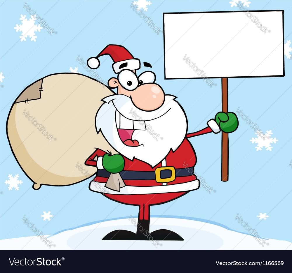 Jolly christmas santa holding a blank sign vector | Price: 1 Credit (USD $1)