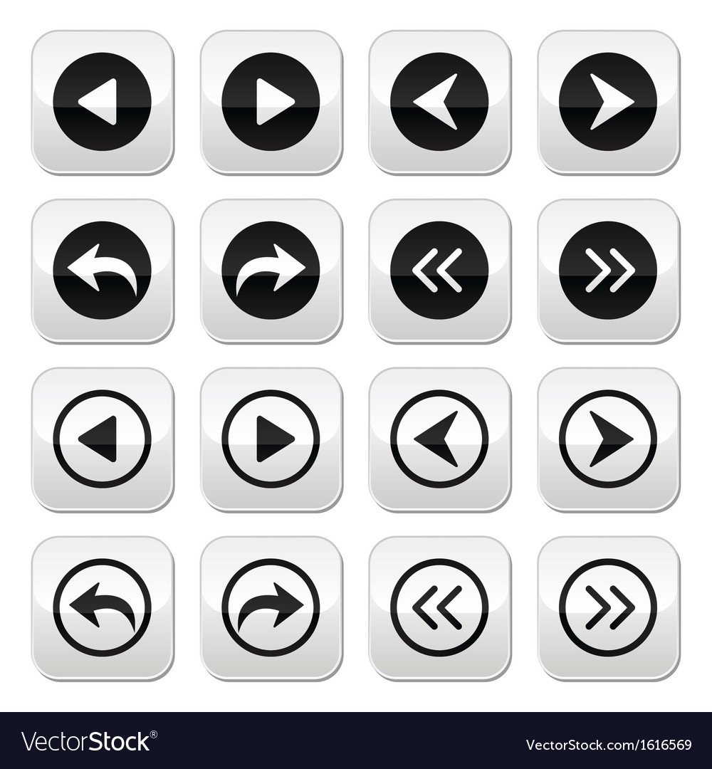 Previous next arrows buttons set vector | Price: 1 Credit (USD $1)