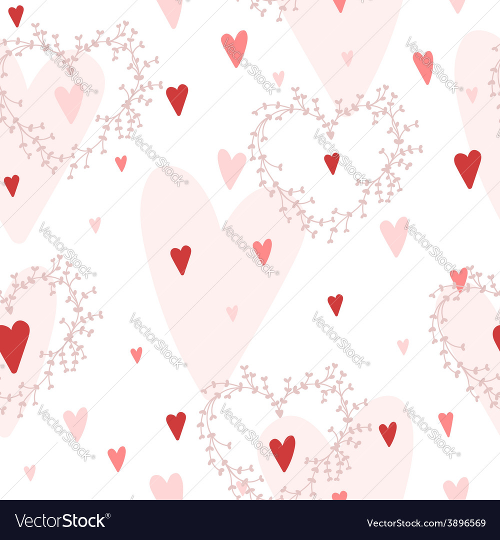 Seamless pattern with hearts and wreaths vector | Price: 1 Credit (USD $1)