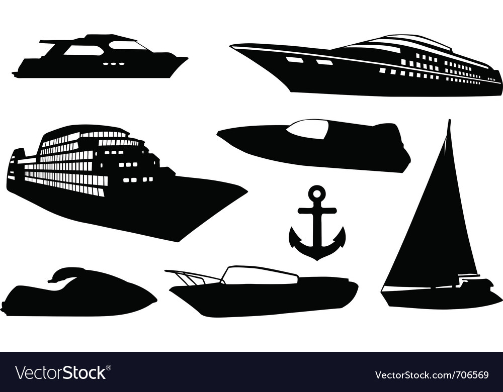 Set of different boats vector | Price: 1 Credit (USD $1)