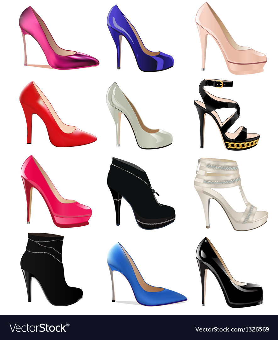 Set of womens shoes with heels vector | Price: 1 Credit (USD $1)