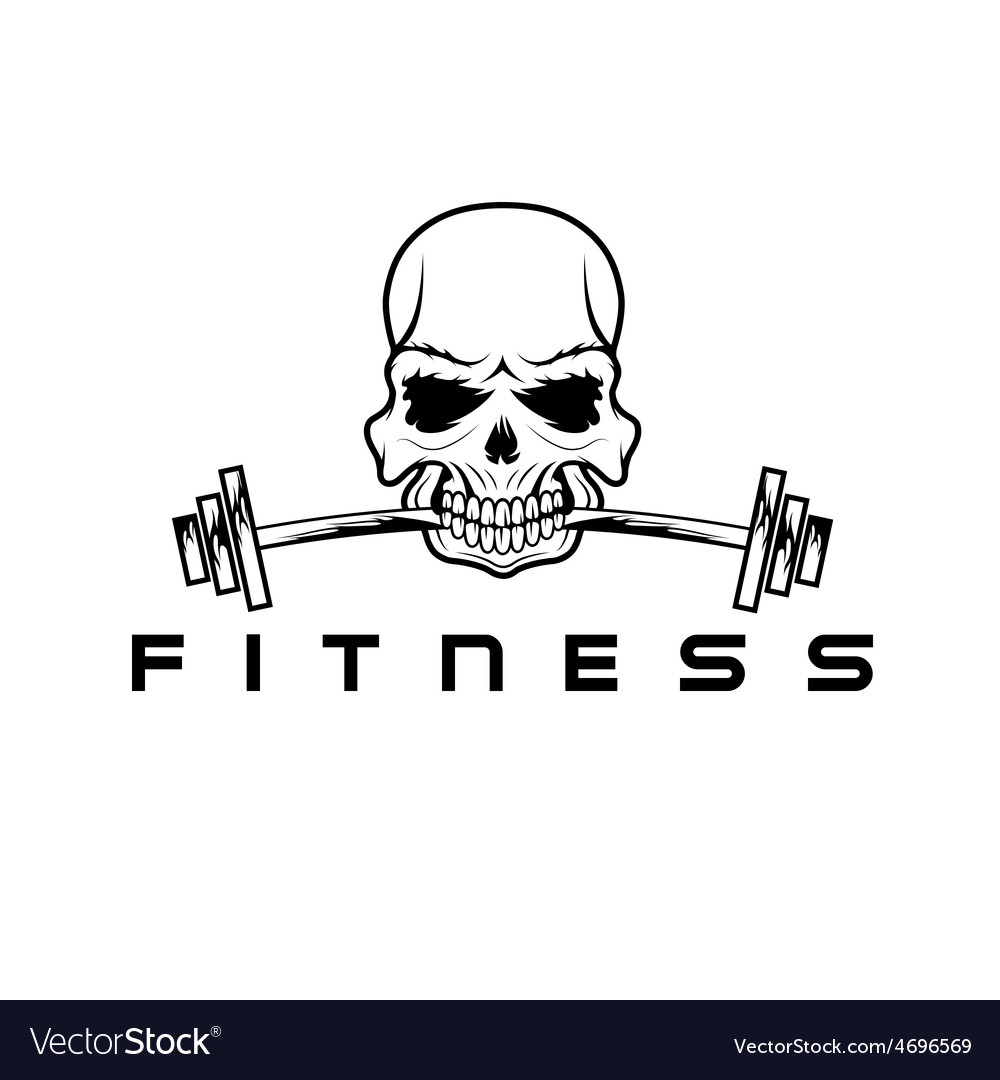 Skull holding barbell in the teeth vector | Price: 1 Credit (USD $1)