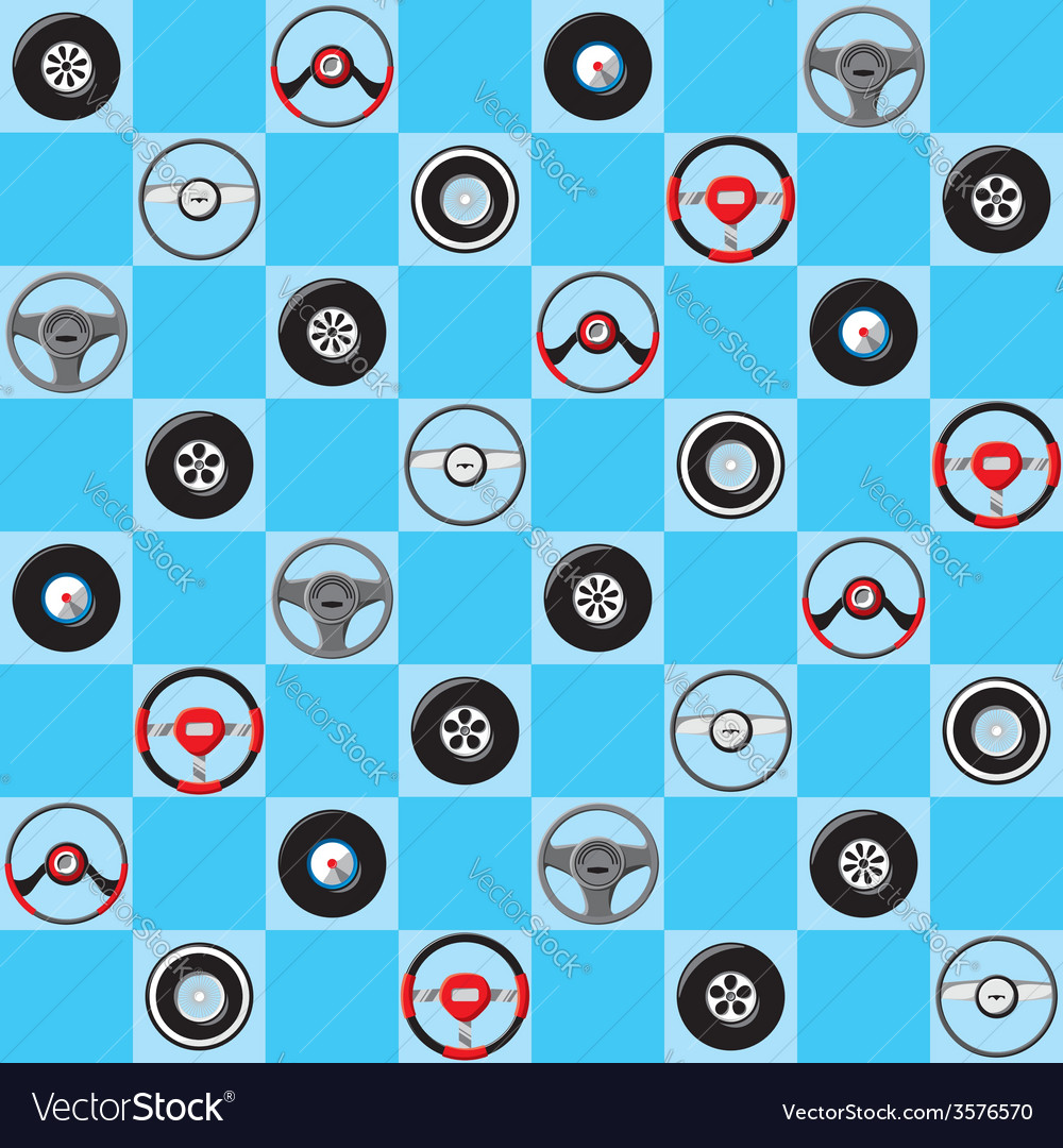 Automotive childish wallpaper with steering wheels vector | Price: 1 Credit (USD $1)